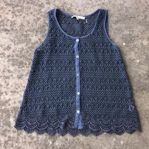 Navy blues laced/nit top